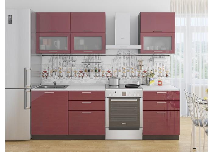 кухня валерия-м-01 бордовый глянец